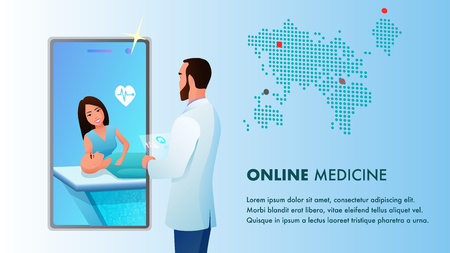 Online Medicine Doctor Videocall by Smartphone. Medical App on Mobile Device. Global Diagnosis Healthcare and Nurse Consultation. Patient on Surgery Table. Flat Cartoon Vector Illustration
