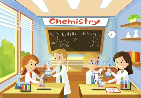 Elementary Class School of Chemistry. Little Children at Desk Doing Research and Study Boy in Hand Holding Flask Blue Liquid Mixed. Girl Helps Conduct Experiment. Kid Glasses Looks Reaction.