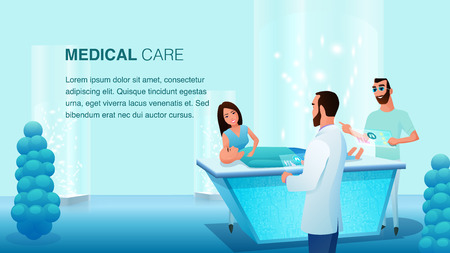 Young Man Woman Doctor Team at Operation Table. Patient Wait for Treatment. Hospital Worker Discussion Process. Future Medicine Healthcare Service. Medical Care. Flat Cartoon Vector Illustration