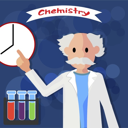 Chemistry Lesson Teacher Vector Illustration Shows Clock Time Start Lesson. Flasks Red Blue and Green Color Reagents Instruments for Experiments. Teacher do Classroom and Homework Test Knowledge.