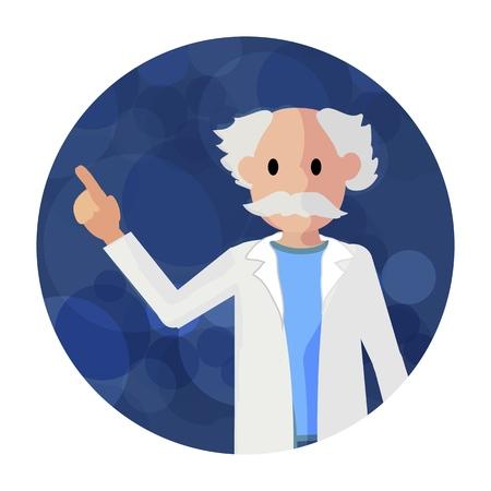 Flat Illustration Elderly Pharmacist in Bathrobe. Vector Illustration on Blue Background. Gray Haired Man in Medical Gown Indicates with Hand Direction for Development Pharmaceutical Medicine. Ilustração