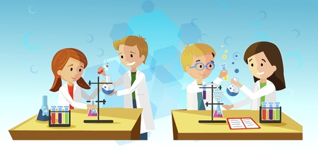 Chemistry Lesson Vector Illustration Children are Conducting Experiment Mixing Ingredients. Girl is Holding Pink Flask. Kid with Glasses Looks Reaction with Yellow Liquid. On Table Notebook.