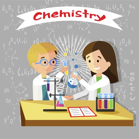 Chemistry Lesson in Elementary School Vector Flat Illustration. Wall Inscribed with Chalk Using Chemical Formulas. Compounds Studied Children in Lesson. Girl Writess in Notebook doing Homework.