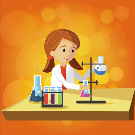 Teenage Girl Doing Laboratory Work at School. Vector Flat Illustration on Color Background. Practical Teaching Chemistry of Children using Reagents and Various Elements in Test Tubes and Flasks.