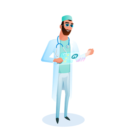 Doctor with Glasses Holds Virtual Medical Card. Male Character Therapist in Medical Uniform Examines Result of Examination. Medicine Technology of Future. Flat Cartoon Vector Illustration