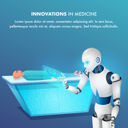 Patient on Surgical Table Smart Robot Point Tablet. Futuristic Surgery Operating Room. Artificial Intelligence Bot Cyborg Doctor. Innovation in Medicine. Realistic 3d Vector Illustration