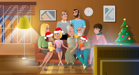 Family Christmas Party Carton Vector with Happy Relatives Sitting on Sofa in Living Room, Kids Wearing Santa Claus Hats, Senior Couple Gathering with Children near Christmas Tree at Home Illustration