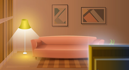 Empty Modern Living Room Interior Cartoon Vector with Comfortable Sofa, Lighted Elegant Floor Lamp, Carpet on Floor, Paintings on Wall and Working TV Set Illustration. Watching Evening TV Show Concept