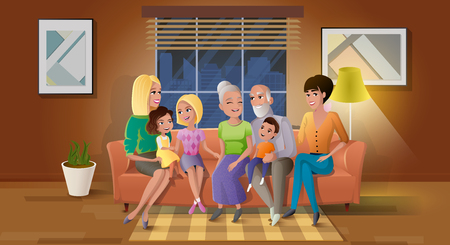 Happy Old Age Cartoon Vector Concept with Smiling Senior Couple Sitting on Sofa, Holding Grandchildren on Knees, Gathering Together with Adult Daughters at Living Room Illustration. Family generations