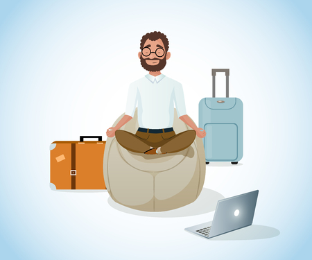 Businessman on Trip or Traveling Freelancer Comfortably Meditating while Sitting in Bean Bag Chair while Waiting for Flight Cartoon Vector Illustration. Relax in Road, Stress Relief Strength Recovery