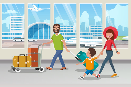 Traveling with Family by Airplane Cartoon Vector Concept with Happy Parents Carrying Trolley with Baggage, Walking with Child in Airport Terminal Corridor To Board Airliner Illustration. Vacation Trip