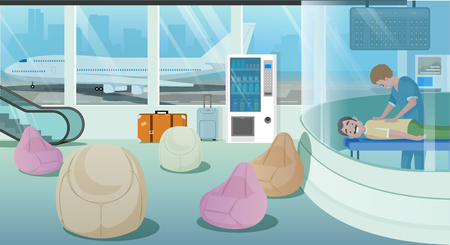 Modern Airport Attractions and Services Cartoon Vector Concept. Man Getting Relaxing Massage in Airport Massage Cabin. Masseur Helping Airline Client to Rest and Strength Recovery after Long Flight  イラスト・ベクター素材