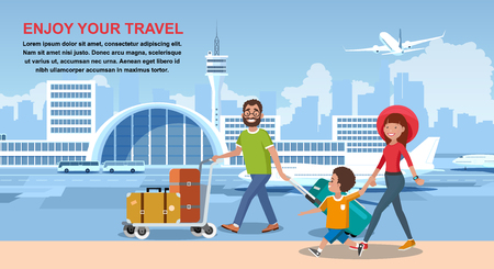 Enjoy Your Travel Cartoon Vector Banner with Happy Smiling Parents Carrying Trolley with Baggage, Walking with Child near City Airport Terminal Illustration. Touristic Travel Agency Advertising Flayer