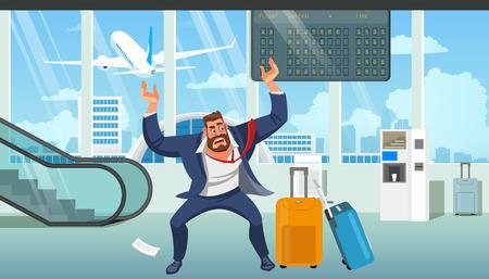 Hombre de negocios en estrés, enojado por retraso en el avión, equipaje perdido después de la llegada a la ilustración vectorial de dibujos animados del aeropuerto. Dificultades en el viaje de negocios, problemas debido a la falta de concepto de tiempo