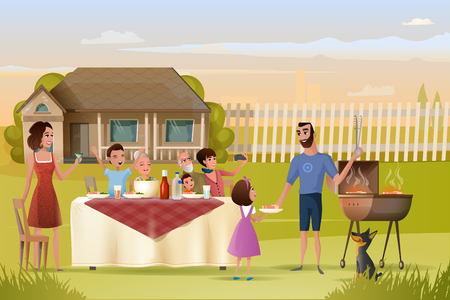 Big Family Holiday Dinner or Picnic on Country House Yard Cartoon Vector. Mother with Goblet in Hand Saying Toast, Father with Daughter Cooking Meat on Grill, Guests Sitting at Table with Tasty Dishes