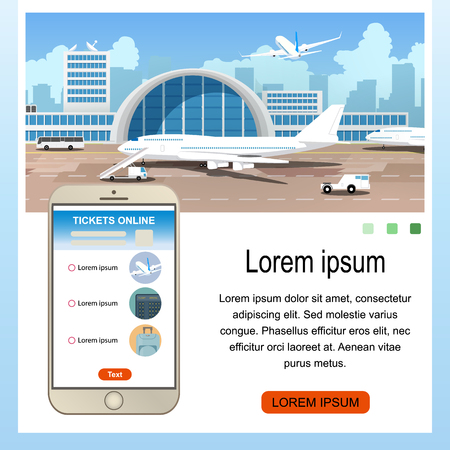 Booking Flight Mobile Application Cartoon Vector Square Web Banner with Airline Services on Cellphone Screen, Airliners in Airport Illustration. Buying Airline Tickets Online Service Landing Page