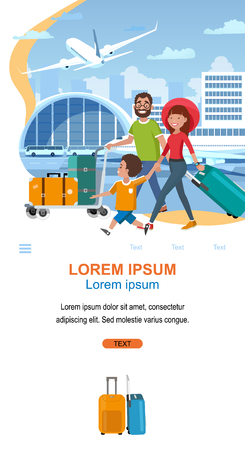 Airline Online Services for Passengers Traveling with Luggage Cartoon Vector Vertical Web Banner. Happy Parents with Child Carrying Baggage on Cart in Airport. Tourist Travel Company App Landing Page