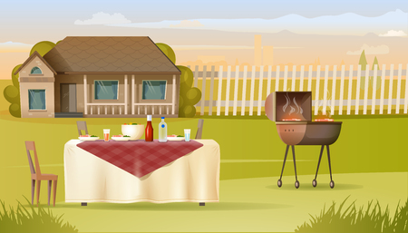 Family Dinner with Barbeque on Country House Yard Cartoon Vector. Dishes with Meat and Salad Standing on Table Covered Tablecloth, Steak Cooking on BBQ Grill Illustration. Outdoor Leisure Concept