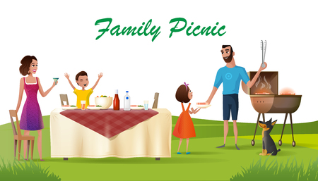 Family Picnic Cartoon Vector Concept or Banner with Happy Parents and Children Having Outdoor Dinner at Holiday Table, Cooking Meat Steak on Barbecue Grill on Green Meadow Illustration. Family Day Off