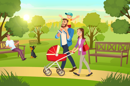 Happy Young Family Strolling in City Park at Sunny, Summer Day Cartoon Vector. Mother Walking with Red Pram, Father Riding Son on Shoulders Illustration. Millennial Parents Spending Time with Children
