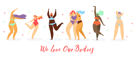 Body Positive Women Flat Vector Concept. Happy Multinational Overweight Women in Swimsuits Hugging and Dancing Together Illustration on White Background. Attractive Ladies Satisfied with Their Bodies