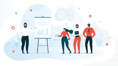 Successful Business Project Presentation, Company Strategy Planning, Statistics Indicators Analysis Flat Vector Concept. Businessman Showing Graphs on Flip Chart for Colleagues in Office Illustration Illustration