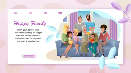 Happy Family Cartoon Vector Horizontal Web Banner with Senior Couple Spending Time with Children, Relatives Gathering at Home Illustration. Service for Retired People Landing Page. Family Generations