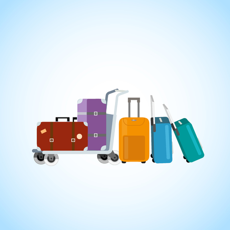 Passengers Baggage Transporting on Airport Luggage Cart Cartoon Vector Illustration. Handbags and Bags on Wheels with Telescopic Handles Collection. Family Travel, Touristic Voyage or Tour Concept Vettoriali