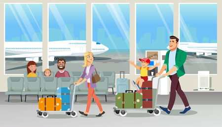 Transporting Large Quantity of Luggage in Airport Cartoon Vector Concept. Happy Father and Mother Walking with Child in Airport Lounge, Carrying Baggage with Cart Illustration. Family Vacation Flight