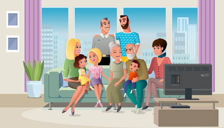 Tree Generations of Big Family Gathered at Home, Spending Time Together while Sitting at Sofa in Living Room Cartoon Vector Illustration. Traditional Family Values Concept. Senior Couple with Children