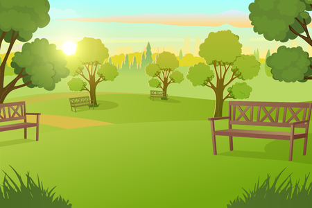 Sunny Day in City Park with Green Grass on Meadow and Benches under Trees Cartoon Vector Illustration. Peaceful Public Place for Leisure, Comfortable Square in Metropolis. Urban Infrastructure Element