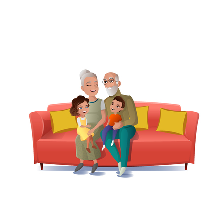 Senior Couple Playing, Having Fun with Kids Cartoon Vector Isolated on White Background. Happy Smiling Grandmother and Grandfather Sitting on Sofa with Boy and Girl Grandchildren on Knees Illustration
