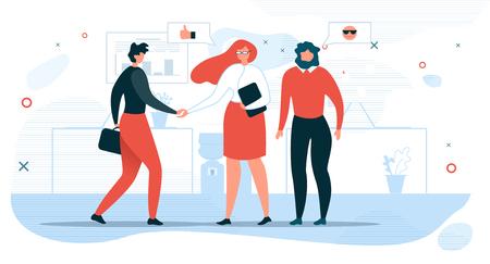 Concepto de Vector plano de comunicación de personas de negocios con empresaria estrechar la mano al socio, gerente de contratación de la empresa dando la bienvenida a la ilustración de nuevos empleados. Reunión de negocios para negociaciones en la oficina