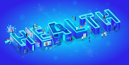 Vector 3d Neon Isometric Word Health on Blue Gradient Background with Neural Network. Little People Use Smart Medcine Technology in Life, Hiring Human Resources, Robot and Cyborg in Human Reality.  イラスト・ベクター素材