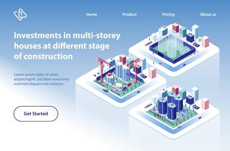 Banner de Web de vector isométrico de proyecto de inversión de construcción de casas de varios pisos. Complejos de apartamentos o condominios en diferentes etapas de la ilustración de preparación. Página de inicio de la empresa inmobiliaria Ilustración de vector