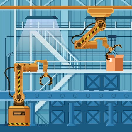 Robot Arm Crane Packing Carton Box on Conveyor. Warehouse Manufacture Automatic Technology. Mechanical Yellow Grip Robotic Claw. Freight Boxing System. Flat Cartoon Vector Illustration