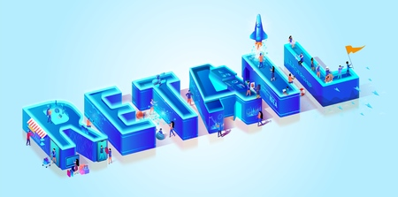 Vector 3d Neon Isometric Word Retail on Light Blue Gradient Background. Little People Characters Moving Among Huge Letters Using Gadjets and Devices in Life for Shopping, Gaming, Business, Teamwork.