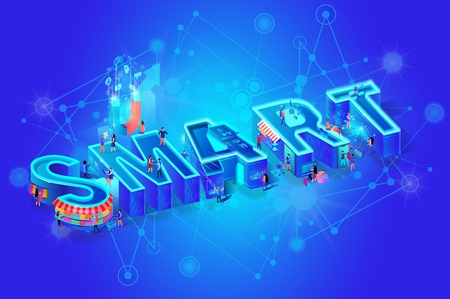 Vector 3d Neon Isometric Word Smart on Blue Gradient Futuristic Technology Background. Little People Using Tech and Devices in Everyday Life For Shopping, Learning, Working, Moving Among Huge Letters
