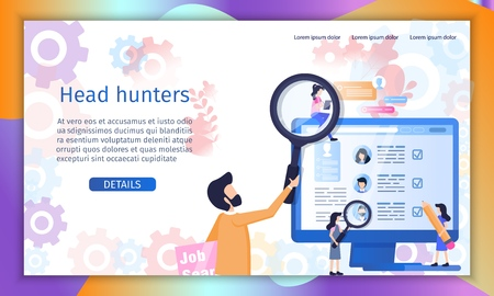 Head Hunter, Recruitment Agency Flat Vector Web Banner or Landing Page Template. Company Leader, Human Resources Manager, Employment Specialist Searching, Analyzing Job Applicants Resume Illustration Çizim