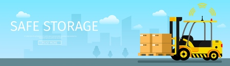 Safe Storage Weight on Automatic Forklift Car. Side View of Yellow Robotic Mechanical Loader Driving Cardboard Box with Barcode. Signal Radar Working. Flat Cartoon Vector Illustration