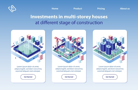 Multi-storey Houses Construction Investment Project Isometric Vector Vertical Web Banners Set. City Apartment and Condominium Complex Advertising Banners. Real Estate Company Landing Pages Collection Reklamní fotografie - 124737499