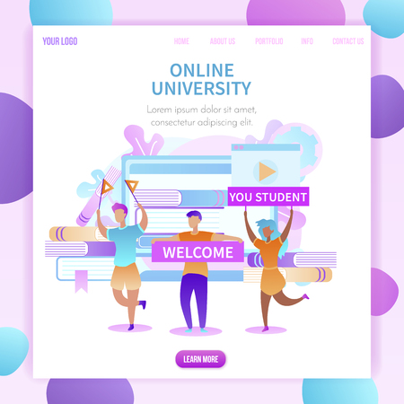 Welcome You Student Square Banner. Happy Cartoon Group of Students Meet New Scholars with Banners and Flags to Online University. Textbooks, Leaves, Cogwheels, App Background. Flat Vector Illustration