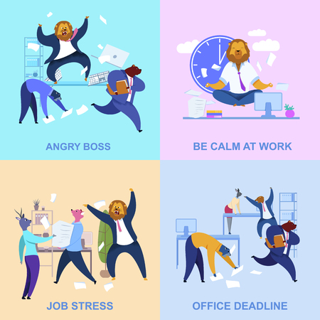 Office Workers with Animal Heads Cliparts Set. Metaphor of Calm Meditating Businessman, Angry Boss as Lion. Flat Cartoon Concepts with Lettering. Workday, Routine Chaos Posters Collection