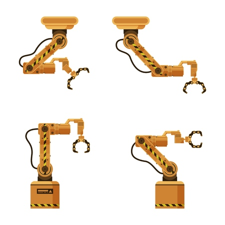 Brown Metal Mechanical Robotic Packing Claw Set. Factory Storage Automatic Crane Device. Industrial Robot Arm Made of Iron. Warehouse Conveyor Equipment. Flat Cartoon Vector Illustration