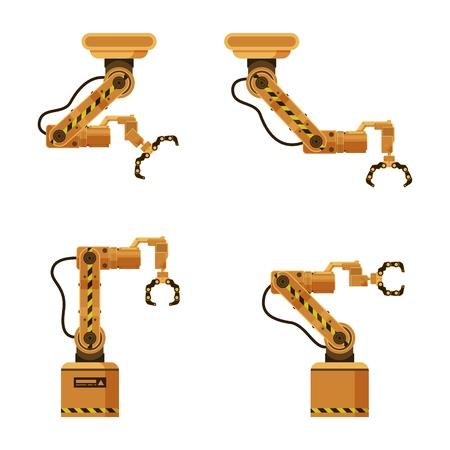 Brown Metal Mechanical Robotic Packing Claw Set. Factory Storage Automatic Crane Device. Industrial Robot Arm Made of Iron. Warehouse Conveyor Equipment. Flat Cartoon Vector Illustration Reklamní fotografie - 124737506