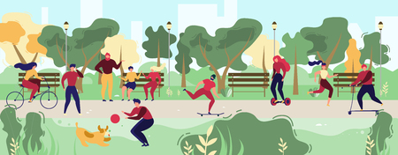 Activities in City Park Flat Vector Concept. People Resting on Bench, Meeting with Friends, Running, Riding Bicycle, Hoverboard and Skateboard, Playing with Pet Illustration. Modern City Public Space 写真素材 - 124737517