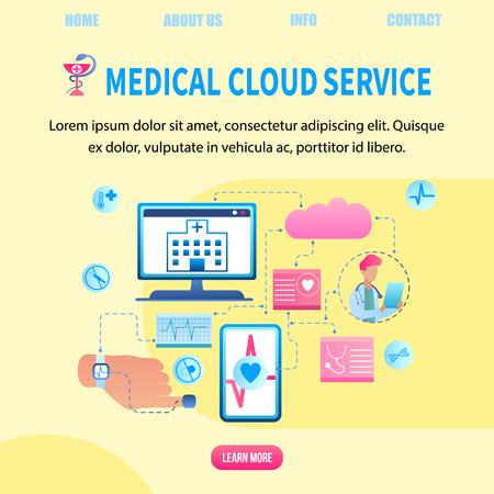 Illustration Patient Health Data Transfer System. Banner Vector Medical Cloud Service. Clinic Receives Patient Health Data Computer. Doctor Online Monitors Heart Person. Device for Life Indicator Foto de archivo - 124737521