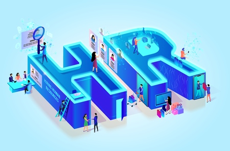 Isometric 3d Creative Letters HR. Human Resource. Little People in Neon City. Job Search. Interviewing, Assessment, Recruitment Agency. Hiring Employee Using Smart Technology. Flat Vector Illustration Çizim
