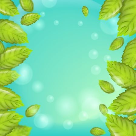 Realistic Illustration Fresh Mint Leaves on Green Background. Frame with vertical Mint Leaves on Banner, Brochure or Flyer Advertising purposes. 3d Vector image Mint Leaves in Bubbles. Vectores