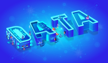 Vector 3d Neon Effect Isometric Word Data on Blue Gradient Background. Little People Using Smart Technology in Life. Artificial Intelligence, Augmented and Virtual Reality Devices. Human Use Gadjets.